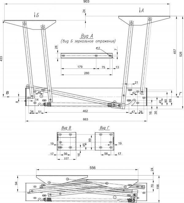 Механизм трансформации стола № 587